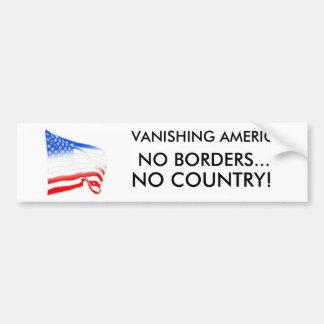 flag, VANISHING AMERICA, NO BORDERS..., NO COUN... Bumper Sticker