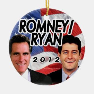 Flag w/Photo Romney/Ryan 2012 Round Ceramic Decoration