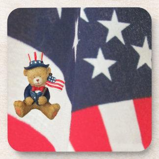 Flag Waving USA Teddy Bear Coaster
