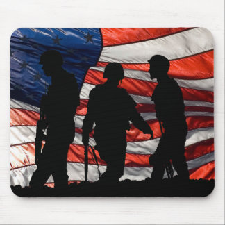 Flag with Soldier Silhouette Mousepad