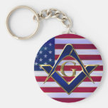Flag with Square and Compasses Basic Round Button Key Ring