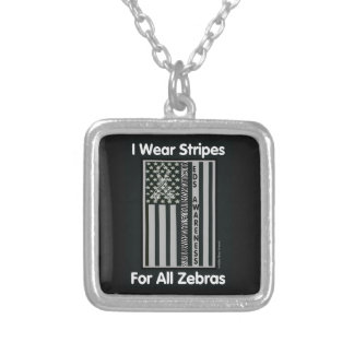 Flag/Zebras...EDS Silver Plated Necklace