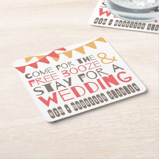 Flagged Booze & Wedding Save the Date Coasters