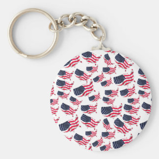 Flagged USA Basic Round Button Key Ring