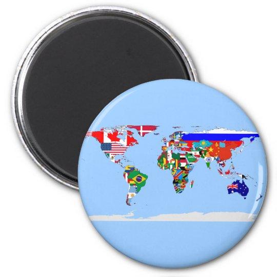 flagged world 6 cm round magnet