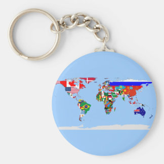 flagged world basic round button key ring