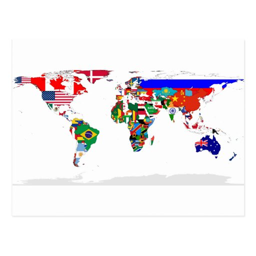 flagged world post cards