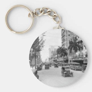 Flagler Street, Miami, 1920s Basic Round Button Key Ring