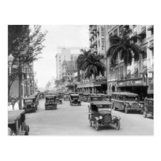 Flagler Street Miami 1920s Postcard