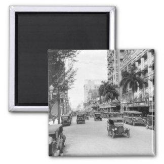 Flagler Street, Miami, 1920s Square Magnet