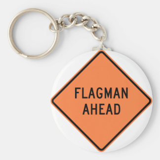 Flagman Ahead Highway Sign Basic Round Button Key Ring