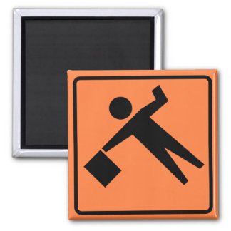 Flagman Ahead Highway Sign Fridge Magnets