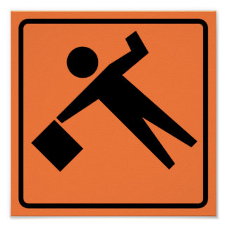 Flagman Ahead Highway Sign Poster