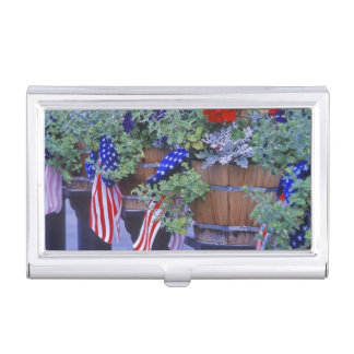 Flags and Flowers in Philipsburg Montana Business Card Holder