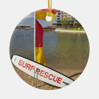 Flags and surf rescue board round ceramic decoration