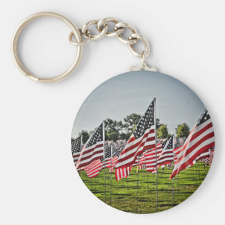 Flags at Art Hill-9-11 Basic Round Button Key Ring