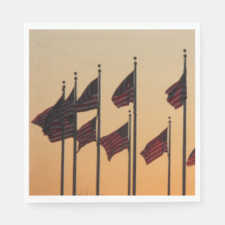 Flags at Sunset I American Patriotic USA Disposable Napkin