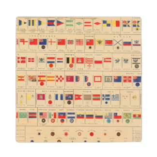 Flags, Badges Wood Coaster