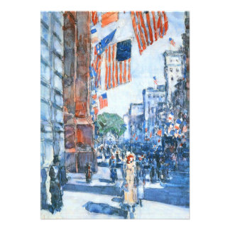 Flags Fifth Avenue Hassam Vintage Impressionism Announcements