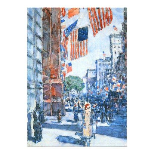 Flags, Fifth Avenue, Hassam, Vintage Impressionism Announcements