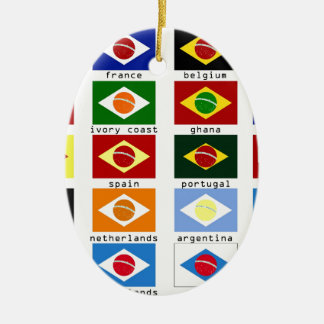 flags for the world cup in Brazil Ceramic Oval Decoration