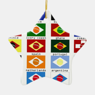 flags for the world cup in Brazil Ceramic Star Decoration