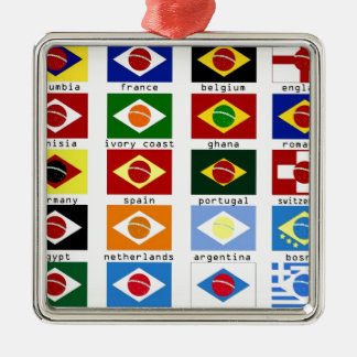 flags for the world cup in Brazil Ornament