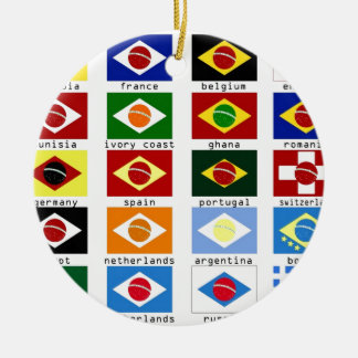 flags for the world cup in Brazil Round Ceramic Decoration
