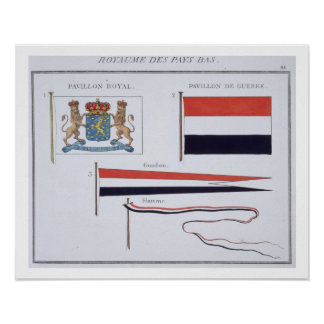 Flags from the Kingdom of the Netherlands, from a Poster