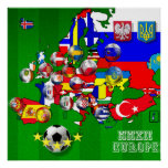 Flags of Europe 2012 Football Soccer Cup Flag Map Posters