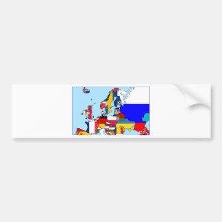 FLAGS OF EUROPE MAP BUMPER STICKER