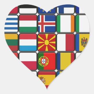 Flags of Flags Heart Sticker