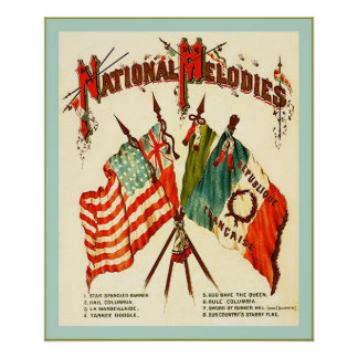 Flags of Four Nations ~ Vintage Print