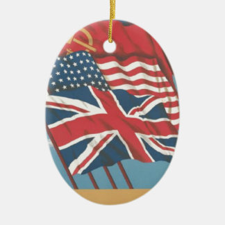 flags of Great Britain,USSR,United States & China Christmas Tree Ornaments