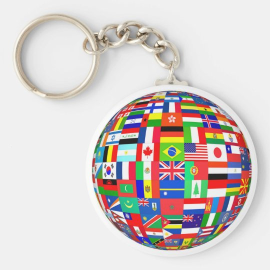 FLAGS OF THE GLOBE BASIC ROUND BUTTON KEY RING