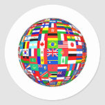 FLAGS OF THE GLOBE ROUND STICKER