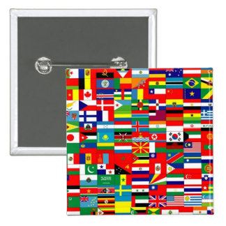 FLAGS OF THE WORLD 15 CM SQUARE BADGE