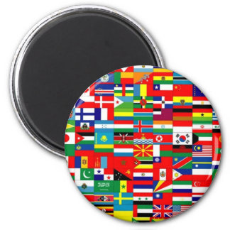 FLAGS OF THE WORLD 6 CM ROUND MAGNET
