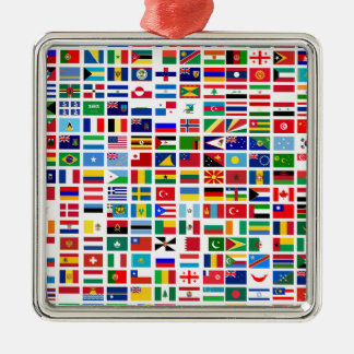 flags of the world against white christmas ornament