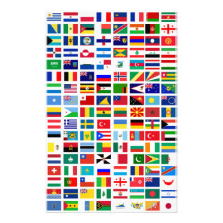 flags of the world against white personalized stationery