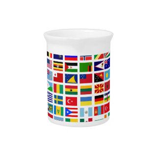 flags of the world against white pitcher