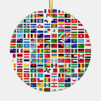 flags of the world against white round ceramic decoration