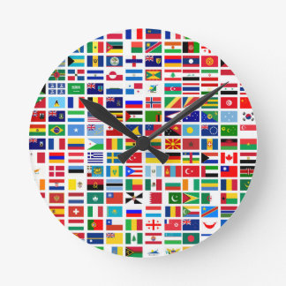 flags of the world against white round clock