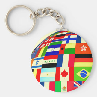 FLAGS OF THE WORLD BASIC ROUND BUTTON KEY RING