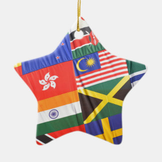 Flags of the world ceramic star decoration