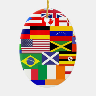 Flags of the world collage ceramic oval decoration