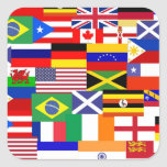 Flags of the world collage square stickers