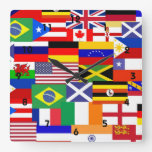 Flags of the world collage wall clocks