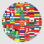 FLAGS OF THE WORLD ROUND STICKER