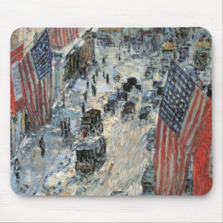 Flags on 57th Street by Childe Hassam, Vintage Art Mouse Pad